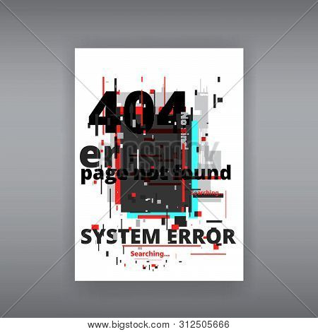 Glitch 404 page not found template. Tv distorted signal chaos, glitched effect distortion color photo dissolution and flaw glitches bug circles, vhs white noise destroyed stock photo