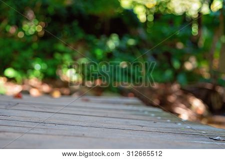 A very shallow depth of focus on a wooden bridge in bushland to give an intentionally blurred background with bokeh highlights stock photo