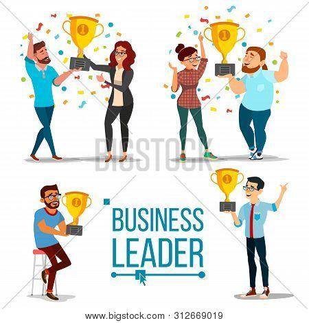 Attainment Concept . Set Business Man And Woman. Attainment, Company Progress. Management Goal. Golden Cup Award. Celebrating Success. Team Achievement. Cartoon Illustration stock photo