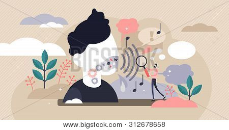 Phonetics vector illustration. Flat tiny linguistic sounds person concept. Abstract articulatory, acoustic and auditory branch study process. Educational language grammatical characterization learning stock photo
