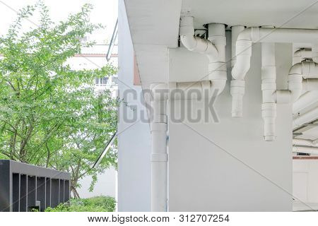 Water pipe system. Installation of water pipe in the building. Water pipe transport system in the building. stock photo