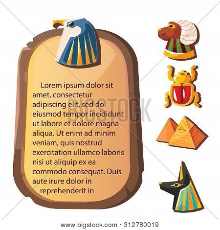 Stone board or clay tablet with falcon head and Egyptian sacred animals cartoon vector illustration Ancient object for recording storing information, graphical user interface for game design on white stock photo