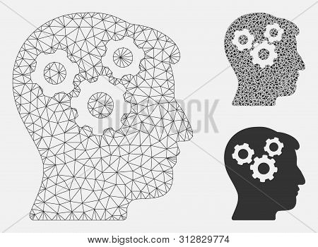 Mesh mind gears model with triangle mosaic icon. Wire frame polygonal mesh of mind gears. Vector composition of triangle elements in different sizes, and color hues. Abstract 2d mesh mind gears, stock photo