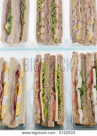 Assortment Bread Food Sandwich Snack Take Away Variety Color Colour Image Container Fast Food In A Row No People Six Objects Studio Shot Studio Takeaway Takeaways Take Aways Vertical Symmetry stock photo