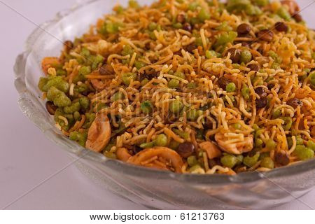 Badshahi Mix - Chiwda a variable mixture of spicy dried ingredients. stock photo