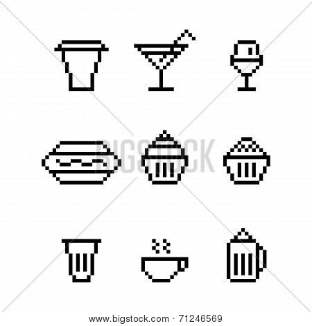 Pixel Art Drink Water Glass Dishes Sausage Cheesecake Cofe