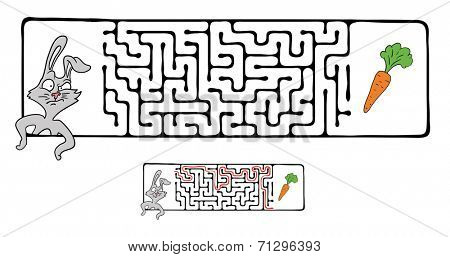 Vector Maze, Labyrinth Game for Children with Rabbit  and Carrot. stock photo