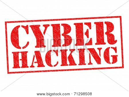 CYBER HACKING red Rubber Stamp over a white background. stock photo