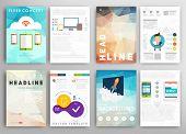 Set of Flyer, Brochure Design Templates. Geometric Triangular Abstract Modern Backgrounds. Versatile