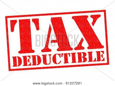 TAX DEDUCTIBLE red Rubber Stamp over a white background. stock photo