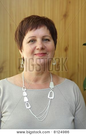 The portrait of a slavic smiling woman stock photo