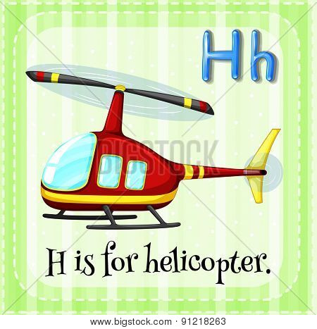 Flashcard alphabet H is for helicopter stock photo