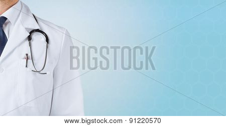 medicine, people and health care concept - close up of male doctor with stethoscope over blue backgr