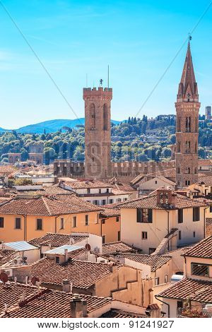Italy Tuscany Florence. View from the bell tower of the Cathedral of Santa Maria del Fiore. Towers of National Museum of the Bargello and Badia Florentina stock photo
