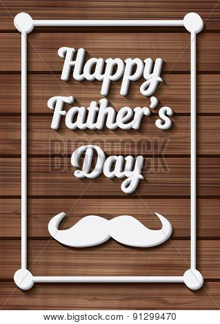 Happy Father\'s Day Typographical Background with moustache on wooden texture. Vector illustration