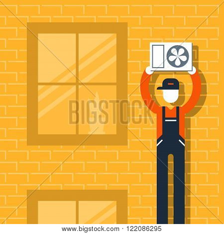 Air conditioner service and works, flat design illustration stock photo