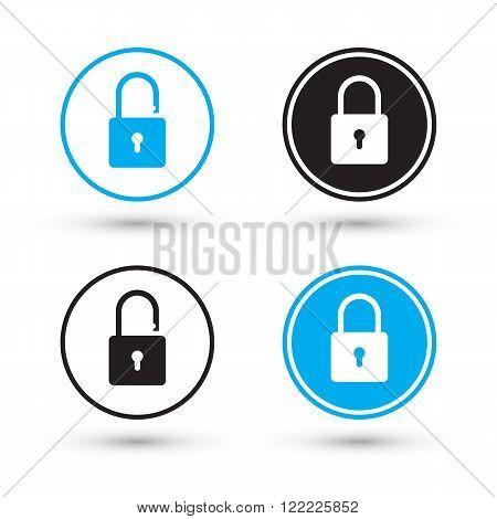 Flat padlock icons. Padlock buttons. Lock and unlock. Concept password, blocking, security. Lock symbol. Lock vector icon. Vector illustration.