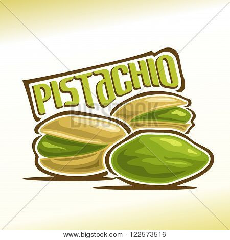 Vector illustration on the theme of the logo for pistachio nuts, consisting of three nutlets, one of which peeled and the other two in the shell cracked stock photo