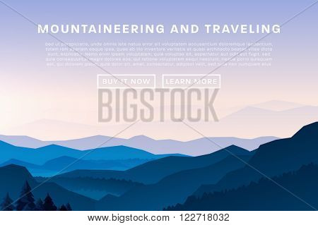 Mountaineering and Traveling Vector Illustration. Landscape with Mountain Peaks. Extreme Sports, Vac