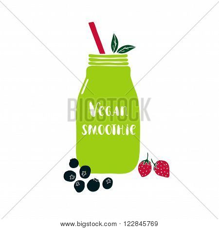Hand drawn vector illustration with smoothie jar. Mason jar with lettering Vegan smoothie.  Jar vector icon. Isolated mason jar. Smoothie. Cute vector mason jar with berries. Vegan smoothie lettering.