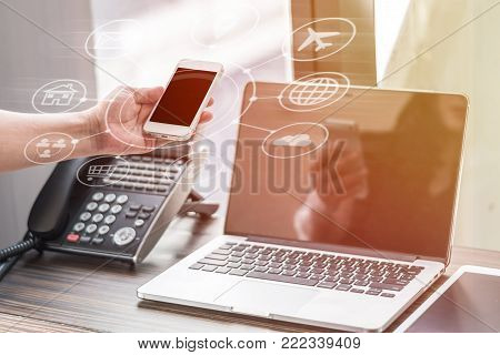 Digital marketing via multi-channel communication network icon on mobile smartphone application technology and VOIP voice over internet protocol telephone service concept stock photo