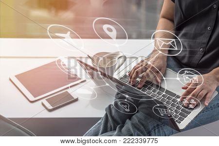 Digital marketing SEO search engine optimization via omnichannel communication network icon on computer software application development and online mobile smart device app technology stock photo