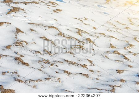 Snow-covered surface of sandy desert, global cooling stock photo