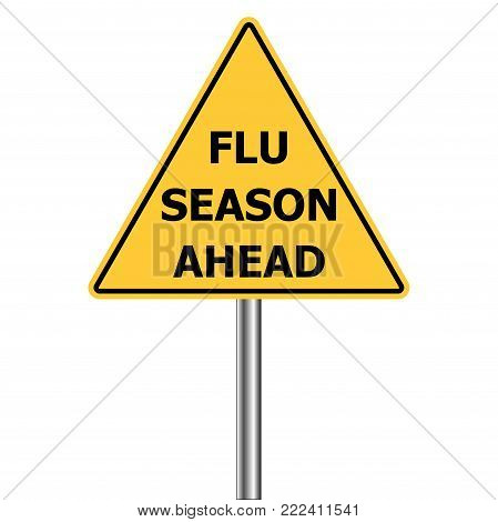 yellow triangle warning sign, Caution - Flu Shots Ahead, vector Flu Season Warning Sign H1N1