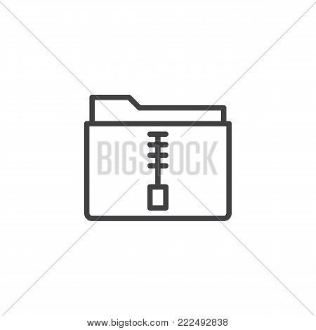 Zip file folder line icon, outline vector sign, linear style pictogram isolated on white. Symbol, logo illustration. Editable stroke stock photo