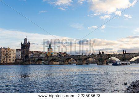 Pedestrians only Charles Bridge, Stone Bridge, Kamenny most, Prague Bridge, Prazhski most over Vltava river in Prague, Czech Republic. stock photo
