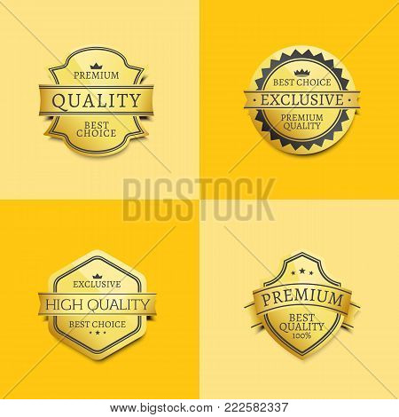 Set of premium quality best golden labels guarantee sticker awards, vector certificate emblems with stars and crowns on yellow, assurance medallions stock photo