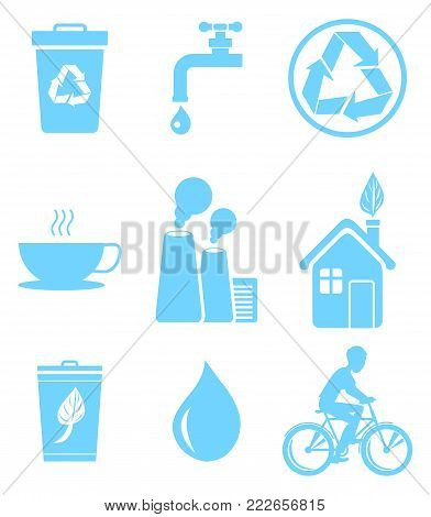 Blue ecology saving and warning isolated vector illustrations set. Recycling agitation, stop pollution and water economization. stock photo