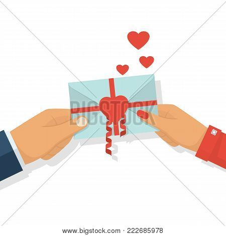 Man gives love letter in hands woman. All you need is love. Letter decorated with ribbons and red heart, symbol. Love note. Celebrating Valentine's Day. Illustration design.