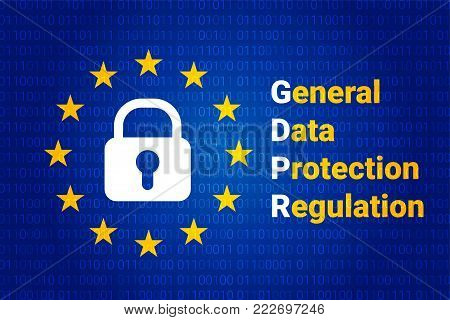 GDPR - General Data Protection Regulation. Text: Are you ready for GDPR. EU flag. Vector illustration