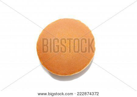 close up of Dorayaki (Japanese Red Bean Pancakes) on white background stock photo