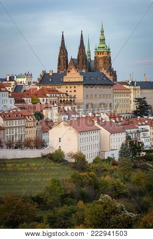 Skyline of Prague old houses and St. Vitus Cathedral, view from Petrin hill stock photo