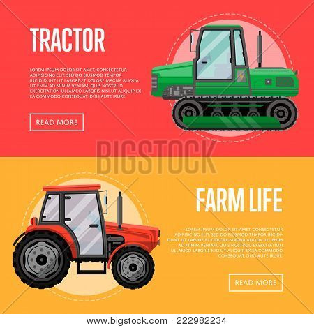 Heavy agricultural machinery for field work flyers. Wheeled and caterpillar tractors vector illustration. Rural industrial technics for agribusiness, new farm commercial transport shop advertising. stock photo
