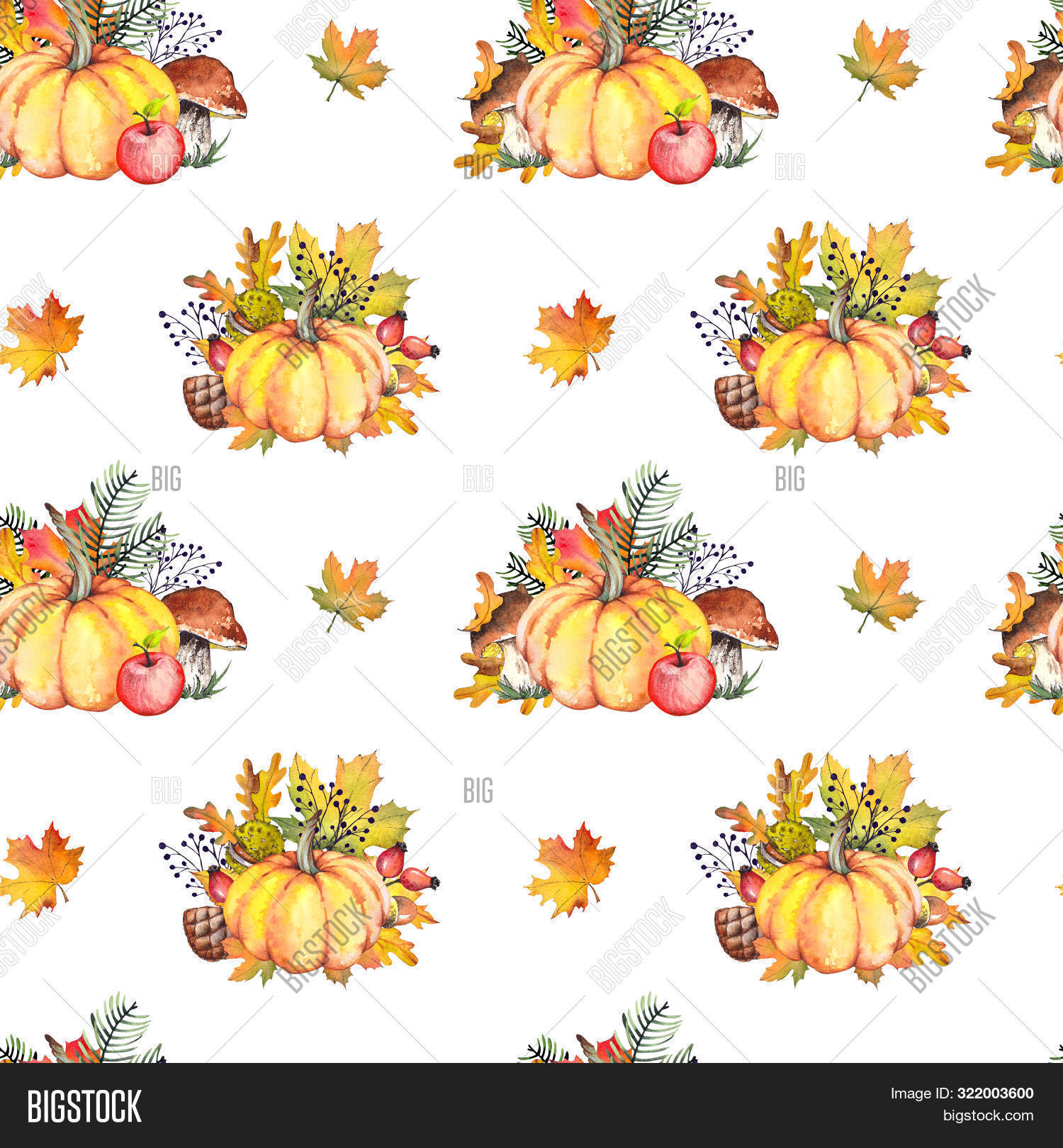 Seamless pattern with orange pumpkins over beautiful bright autumnal nature background. Autumn Thanksgiving day. Holiday autumn festival concept.