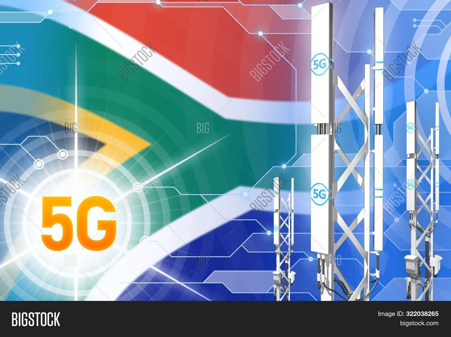 3d,4g,5g,African,africa,antenna,base,cell,cellular,communication,connection,equipment,flag,illustration,industrial,industry,lte,mast,metal,mobile,network,phone,radio,rendering,signal,south,station,technology,telecommunication,telephone,tower,transmission,transmitter,wireless