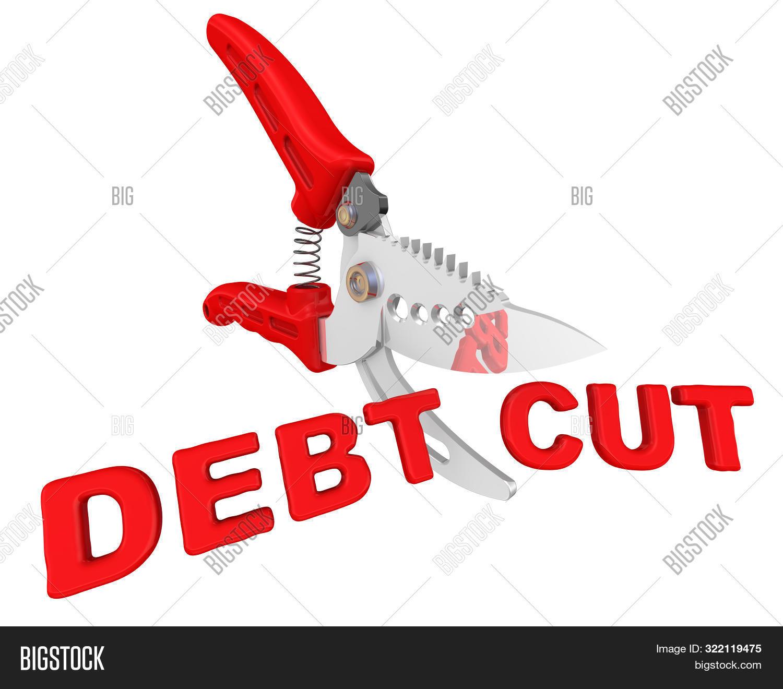 Concept Of Debt Cuts. Pruner Cuts Red Text Debt Cut. The Concept Of Debt Cuts. Isolated. 3d Illustra