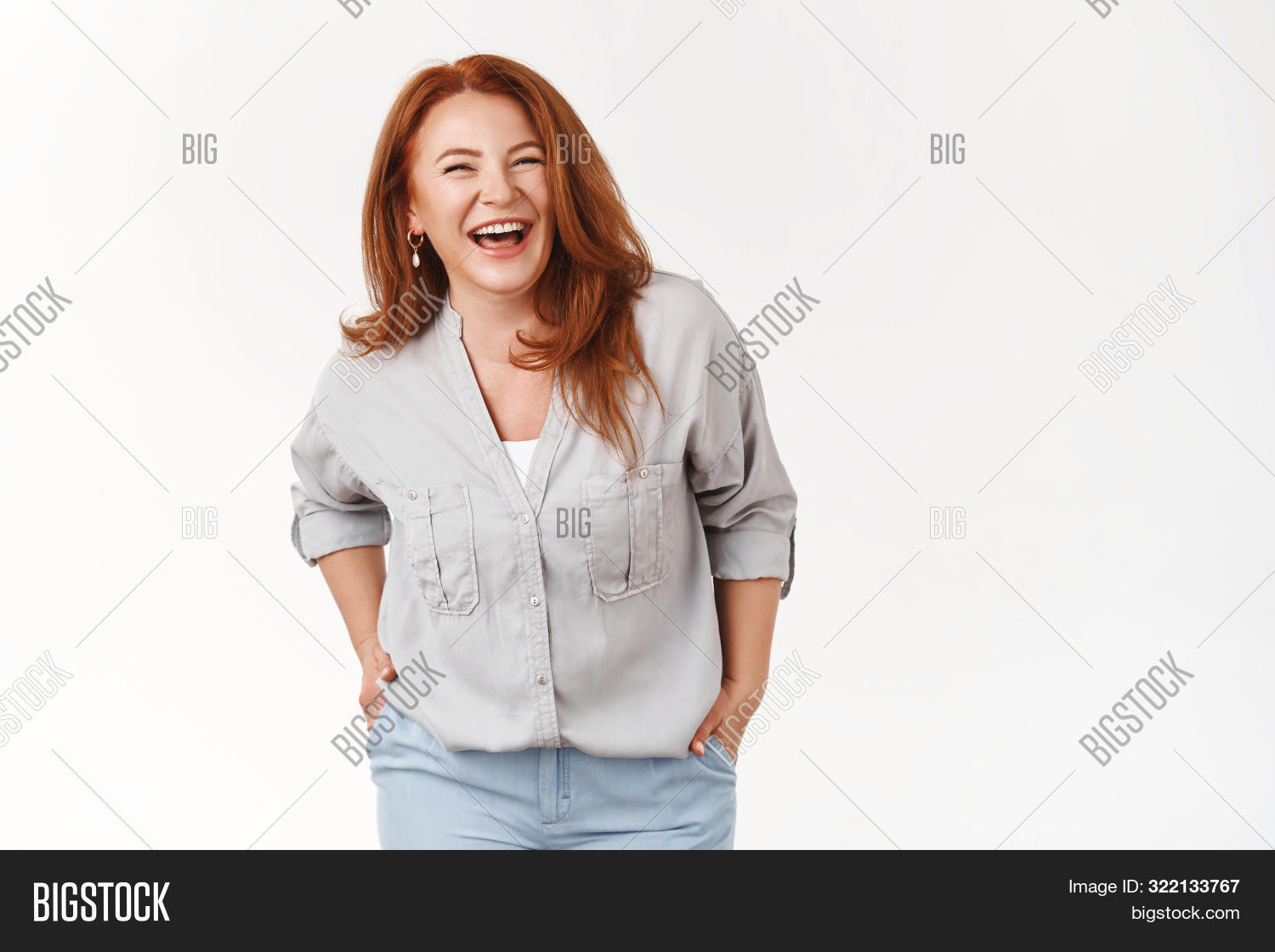 Wrinkles What. Charming Carefree Middle-aged 50s Redhead Woman Laughing Happily Having Fun Good Mood