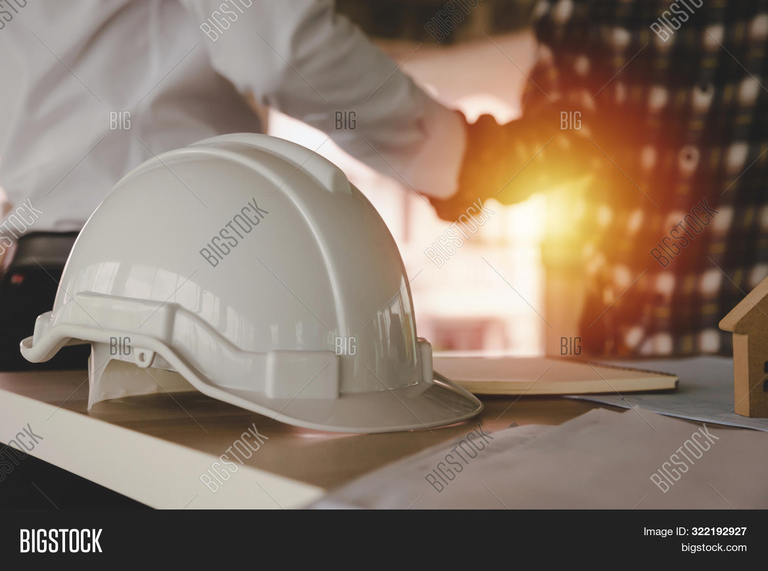 Construction Worker Team Hands Shaking Greeting Start Up Plan New Project Contract Behind White Safe