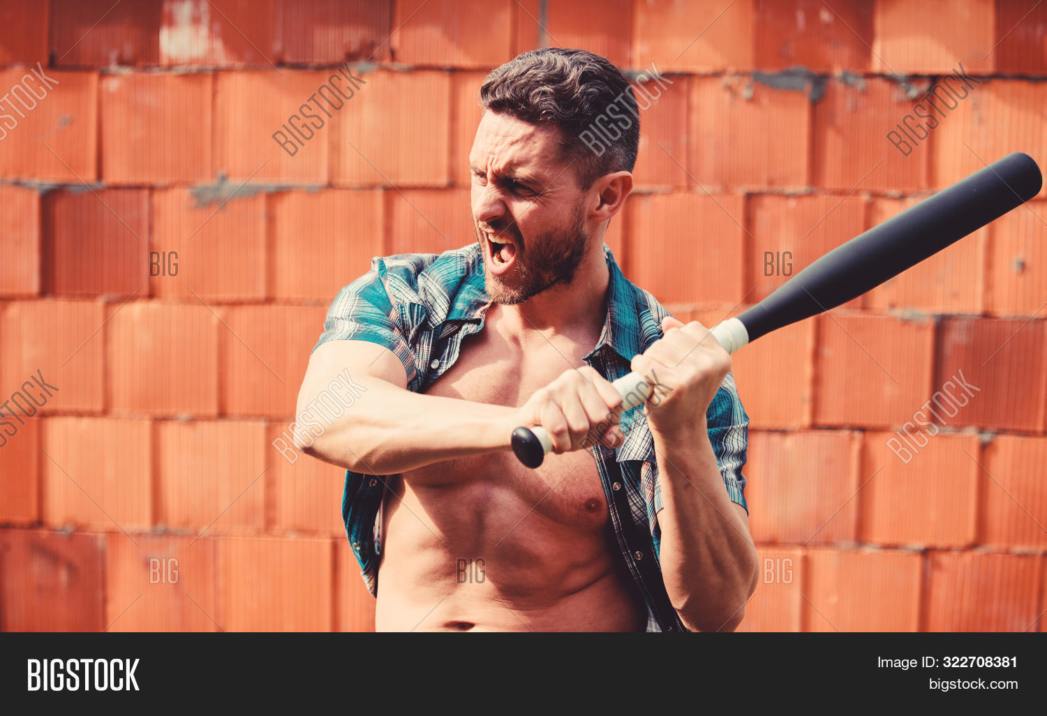 aggression,anger,attack,background,baseball,bat,beard,bearded,black,brick,bully,carry,caucasian,concept,confident,crime,criminal,cudgel,danger,dangerous,energy,face,feel,guy,his,hold,hooligan,mad,man,muscular,my,power,principle,ruin,sport,strength,strong,temper,torso,unshaven,wall,weapon