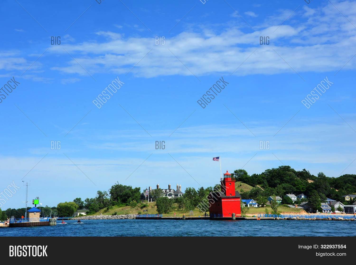 Holland,Michigan,architecture,blue,great,harbor,historic,historical,lake,light,lighthouse,red,sky,summer,sunny,tourists,visitors,water,windy