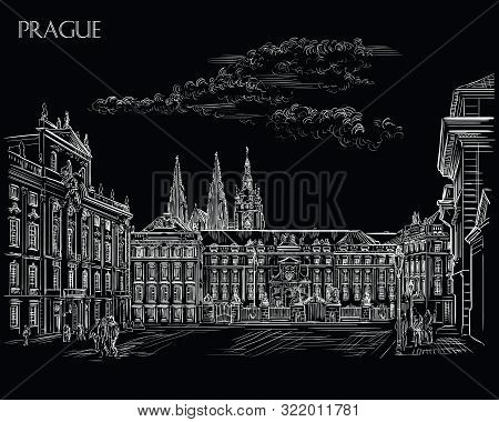 Vector hand drawing Illustration of Hradcany square. The Central gate of the Hradcany Castle. Landmark of Prague, Czech Republic. Vector illustration in  white color isolated on black background. stock photo