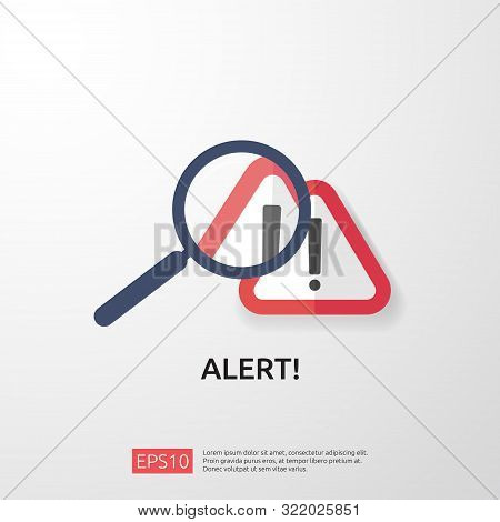 attention warning attacker alert sign with exclamation mark. beware alertness of internet danger symbol. shield line icon for VPN. Technology cyber security protection concept. vector illustration. stock photo