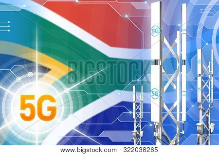 South Africa 5G network industrial illustration, large cellular tower or mast on hi-tech background with the flag - 3D Illustration stock photo