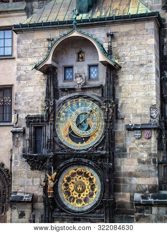 Astronomical Clock (Orloj) in the Prague. City clock on the old town square in Prague stock photo