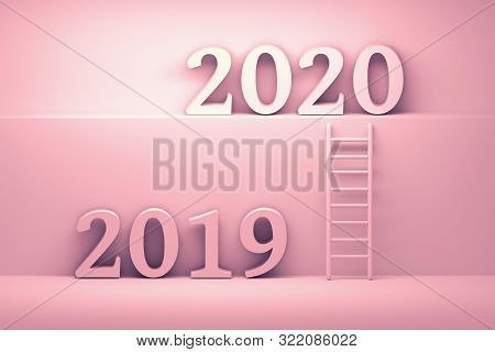 Concept transition from 2019 to 2020 in pink colors. Future development business concept illustration. Ladder standing next to wall leading from year 2019 to year 2020. 3d illustration. stock photo