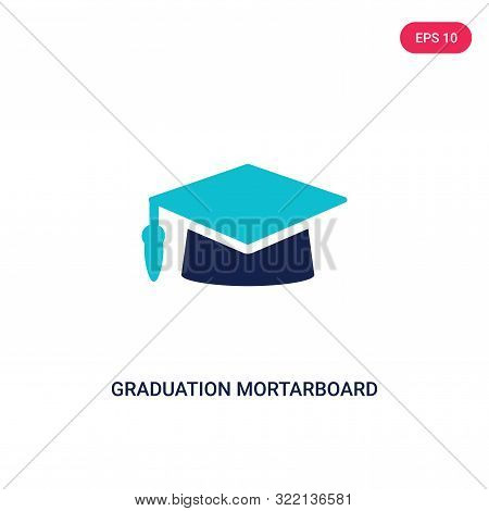 graduation mortarboard icon in two color design style. stock photo